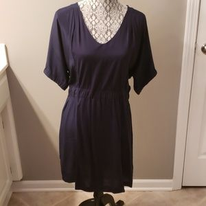 J Crew Kimono Navy Silk and Cotton dress